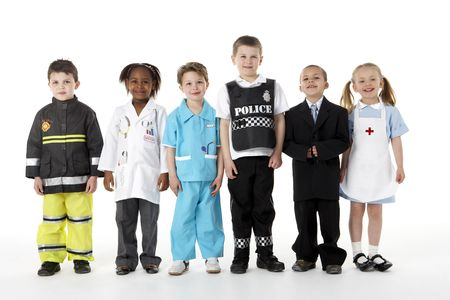 Young Children Dressing Up As Professions photo
