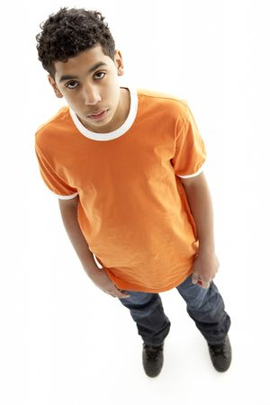 casual clothing 12 year old: Full Length Portrait Of Young Boy