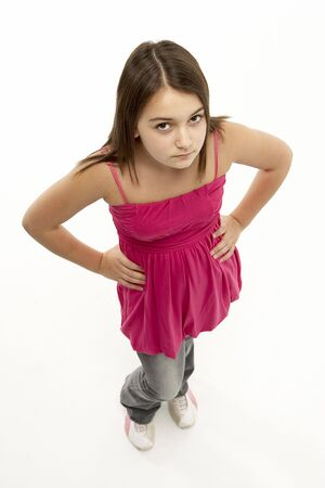 annoyed girl: Full Length Portrait Of Young Girl