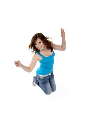casual clothing 12 year old: Young Girl Leaping In Studio