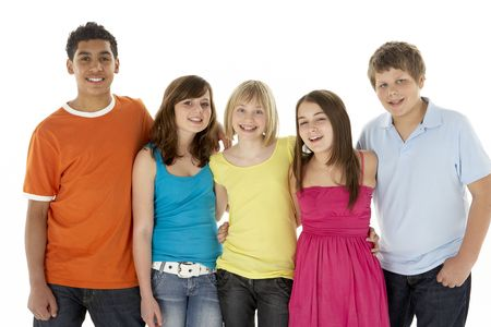 frienship: Group Of Five Young Children In Studio Stock Photo