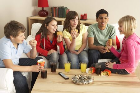 Group Of Children Eating Burgers At Home Stock Photo - 5296926