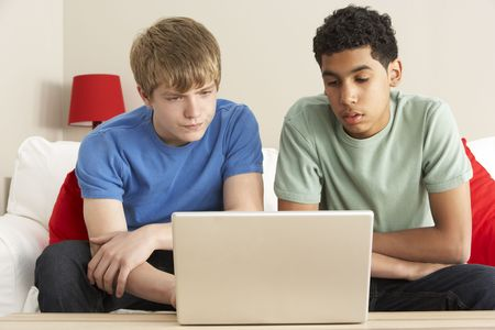 boy 12 year old: Two Boys Using Laptop At Home