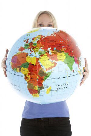 Woman Holding Globe photo