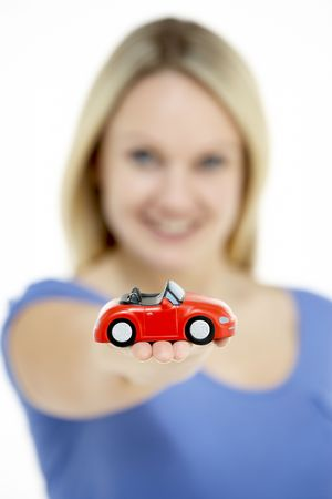 Woman Holding Toy Car