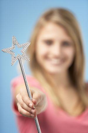 Teenage Girl Holding Fairy Wand