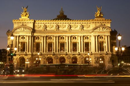 Exterior Of Paris Opera House At Night