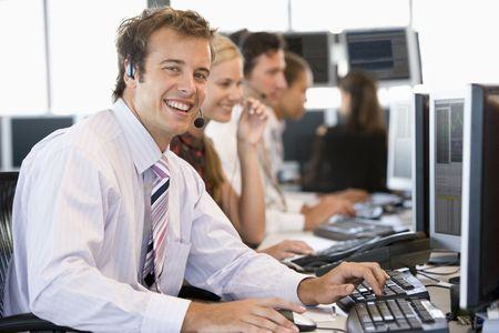 stock trader: Stock Trader Smiling At Camera Stock Photo