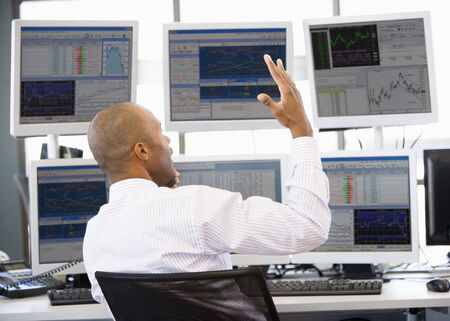 trader: Stock Trader Talking Animatedly On The Phone