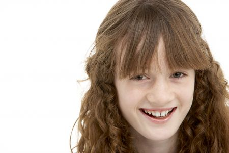 11 year old girl: Portrait Of Happy Young Girl Stock Photo