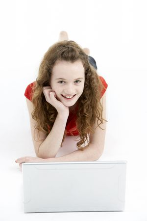 11 year old girl: Young Girl Using Laptop Computer