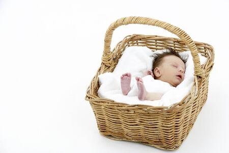 Newborn Baby Sleeping In Basket photo