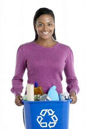 Woman Carrying Recycling Bin photo