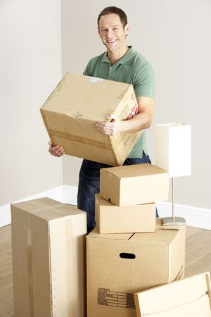 Man Moving Into New Home photo