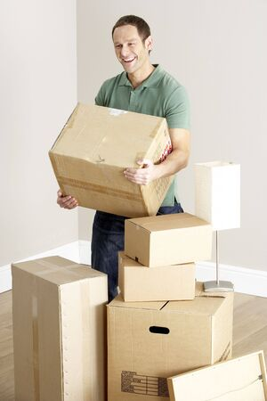 shifting: Man Moving Into New Home