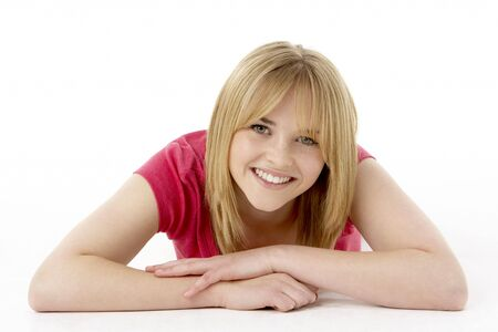 blond 16 year old: Studio Portrait Of Smiling Teenage Girl