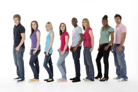 19 years old: Group Of Teenage Friends In Studio Stock Photo