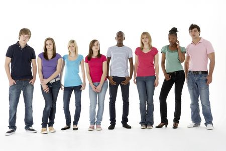 group of teenagers: Group Of Teenage Friends In Studio Stock Photo