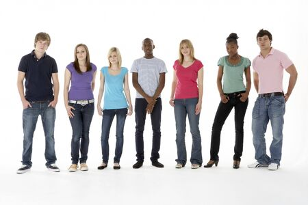 16 19 years: Group Of Teenage Friends In Studio Stock Photo
