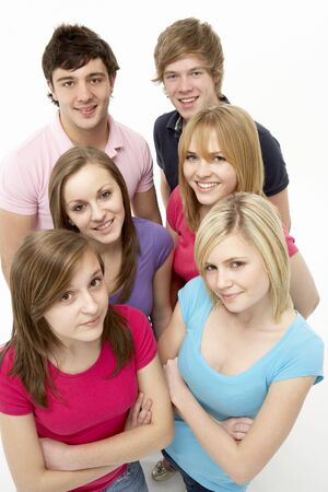 19 year old boy: Group Of Teenage Friends In Studio Stock Photo