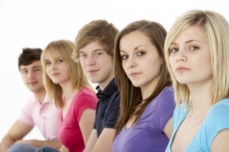 Group Of Teenage Friends In Studio photo