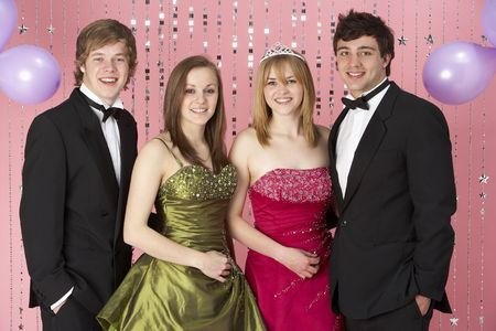 19 year old boy: Two Young Couples Dressed For Party Stock Photo