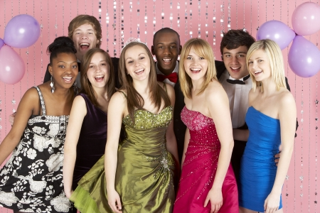 Group Of Teenage Friends Dressed For Prom photo