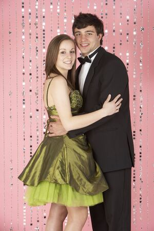 prom dress: Young Couple Dressed For Party