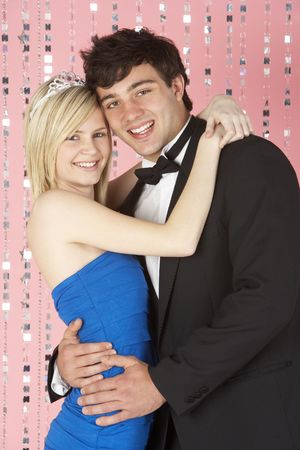 sixteen year old: Young Couple Dressed For Party