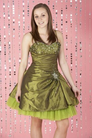 Young Girl Wearing Party Dress photo