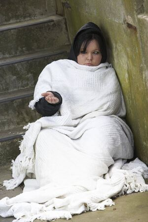 Homeless Girl Sleeping Rough Stock Photo - 5517077