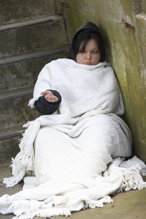 homelessness: Homeless Girl Sleeping Rough Stock Photo