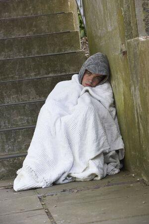 Homeless Boy Sleeping Rough Stock Photo - 5516930