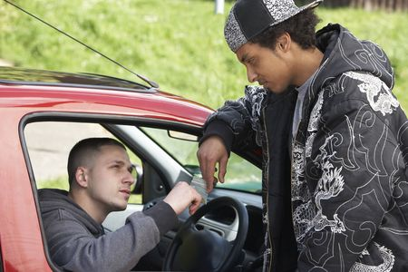 car dealers: Young Man Dealing Drugs From Car