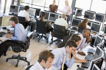 stock traders: View Of Busy Stock Traders Office