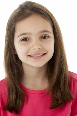 6 year old: Studio Portrait of Smiling Girl Stock Photo