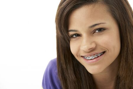 fifteen year old: Studio Portrait of Smiling Teenage Girl Stock Photo