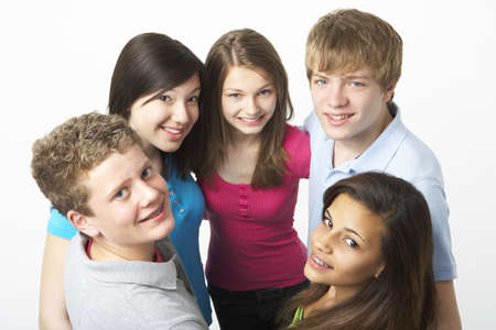 olds: Group of Teenage Friends in Studio  Stock Photo