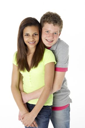 Teenage Couple in Studio photo