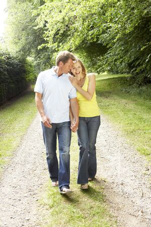 Middle aged couple walking in countryside photo