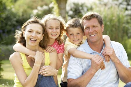 family of five: Family having fun in countryside Stock Photo