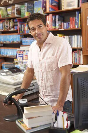 small business owner: Male bookshop proprietor Stock Photo