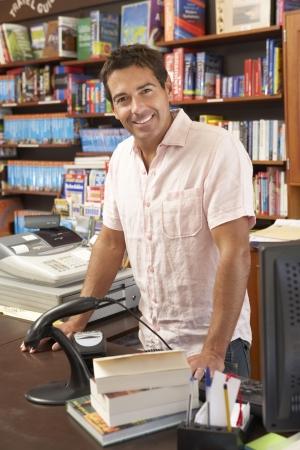 book store: Male bookshop proprietor Stock Photo