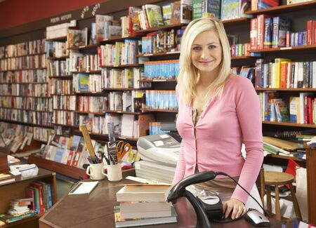 Female bookshop proprietor photo