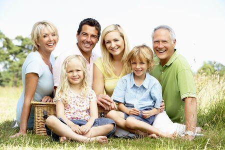pique nique en famille: Pique-nique familial dans la campagne ayant