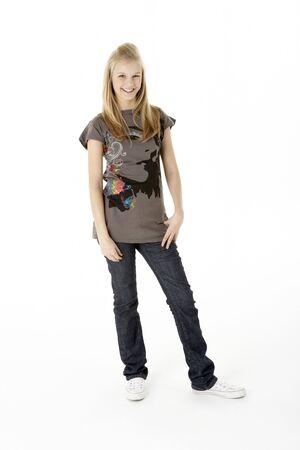 fifteen year old: Full Length Studio Portrait Of Teenage Girl