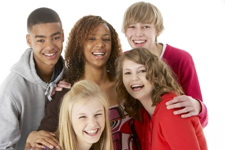 Studio Portrait Of Five Teenage Friends photo