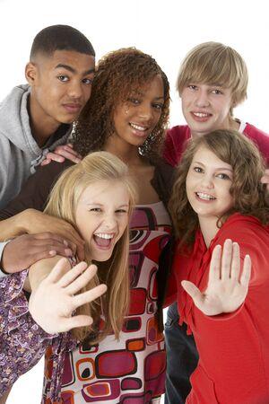 fifteen year old: Studio Portrait Of Five Teenage Friends