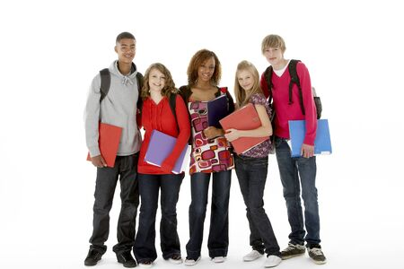Full Length Studio Portrait Of Five Teenage Students Stock Photo - 6127683