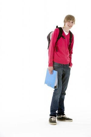 fifteen year old: Full Length Studio Portrait Of Male Teenage Student
